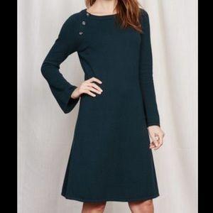 Boden Green Sweater Dress W/button Detail. Sz 4P